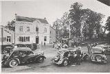 66k post-war photo of Opel-Kadett K38 2-door Limousine, Citroen 11CV, Cafe Grenzbaum, German-Belgien boundary