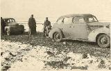 53k WW2 photo of Wehrmacht 1938 Packard 6 sedan and Opel-Kapitaen, USSR, Kalmykia?